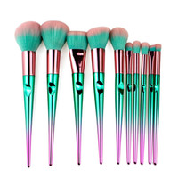 New 10pcs set Colorful Silver Glitter Makeup Brushes Set Fou...
