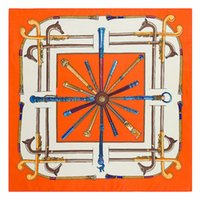 Donne 100% sciarpa in seta arancione quadrato stampa fox print satinato foulard femme echarpe retrò sciarpe twill 60 * 60cm collo dei capelli piccolo