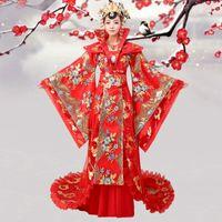 Çin antik Hanfu gösterisi Sıcak Pembe Tokat-up Tang Hanedanı Kraliçe Kostüm Asil Resmi Giymek Peri Kostüm Tailing Kadın
