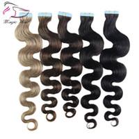 7A Body Wave Tape Dans Hair 40Pcs Par Paquet 14-24Inch Piano / Pure / Ombre Couleur Remy Hair 100% Bande Humaine Dans Des Extensions De Cheveux Humains