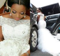 Robes de mariée arabe nigériane grande taille perlage à manches courtes manches longues train chapelle Tulle sirène robes de mariée robe de Noivas