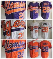 Erkek clemson tigers seth bira kolej beyzbol forması ucuz beyaz turuncu mor 28 seth bira üniversite dikişli gömlek