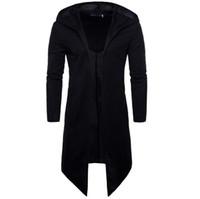 Erkekler Trençkot Bahar Sonbahar Yeni Moda Erkekler Için Uzun Fit Siyah Ceket Palto
