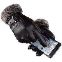 망 크리스마스 선물 두꺼운 검은 따뜻한 세척 가죽 장갑 비즈니스 노팅 터치 스크린 장갑 2021 패션 디자인