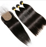Silk Base Closure With 3 Bundles Straight Human Remy Hair Br...