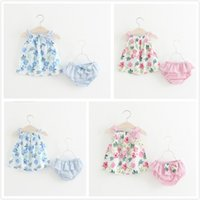 2018 Summer Children' s Clothing Flower Printing Big Bow...