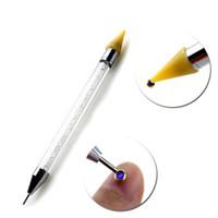 مزدوج رئيس مختلف التنقيط القلم مسمار الفن أدوات التنقيط نصائح الخرز المنتقى الشمع قلم مقبض مانيكير أداة