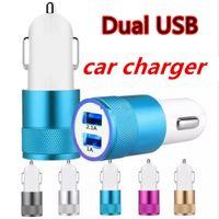 Алюминиевый сплав Dual USB автомобильное зарядное устройство 2.1A 1A 2 порта USB Металл Автомобильное зарядное устройство для iphone Samsung смартфонов
