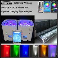 10Xlot with good fly case remote control 4 6*18w rgbwa uv wireless dmx led par wifi phone control uplights for wedding