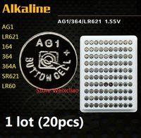 20 stücke 1 los AG1 LR621 164 364 364A SR621 LR60 1,55 V Alkaline Knopfzelle münzen akkus tray paket Kostenloser Versand