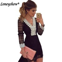 Black Womens Elegant Wedding Party Sexy Night Club Scollo a V Manica lunga Una linea Bodycon Short Lace Dress Plus Size