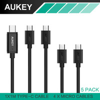 AUKEY 5Pcs USB Cable 4 Micro USB cable + Type C Universal Mo...
