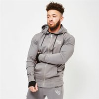 Mens Sport Zipper Cotton Jogging Hoolded Jacket gym Men Jack...