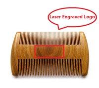 9.8cm * 5.8cm Природные сандаловые карманные бородки Расчески для мужчин Ручная расческа из натурального дерева с плотным и разреженным лазером для лазера Engraved Logo