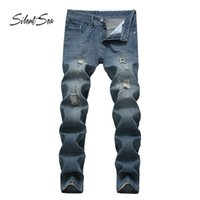 Silentsea Men Jeans Straight Casual Scratched Slim Fit Male Jeans Man Stretch Denim Pants Trousers Classic Cowboy pants