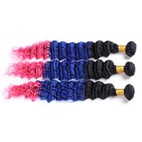 Drei Ton 1b Blau Rosa Menschenhaar Tiefe Welle Ombre Haarbündel 3 teile / los Tiefe Lockige Dunkle Wurzel Peruanische Reine Haarverlängerung