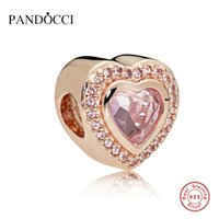 925 Sterling Silver Sparkling Love Charm PANDOCCI Rose Pink ...