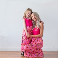 summer matching mother daughter dresses 2018 pink floral mot...