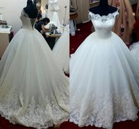 Lace Ball Gown Wedding Dresses Off Shoulder Lace up Floor Le...