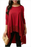 Высокое качество новый стиль Женская 3 / 4sleeve кружева футболка удобные свободные повседневная футболка блузка асимметричная Богемия блузка S-M черный красный