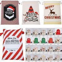 2018 Yeni Noel Hediye Çanta 50 * 70 cm Büyük Tuval Çanta Santa Sack Reindeers Ile Noel Baba Çuval Çanta İpli çanta oyuncak Almak çanta