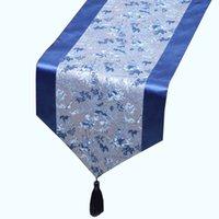 Kort lång jacquard kinesisk silke satin bord löpare matbord matta placemat dekoration damastast kaffe te bordsduk rektangulär 150x33 cm
