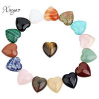 XINYAO 5 unids Corazón Natural de Piedra Cabochon Beads 10mm 25mm Ágatas Ojo de Tigre Cuentas Planas Traseras para DIY Joyería Colgante haciendo