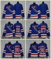 New York Rangers 27 Ryan McDonagh Jerseys 11 Mark Messier 30 Henrik Lundqvist 36 Tapetes Zuccarello Blank Blue All Stiched Hombres Mujeres Jóvenes Niños