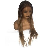 Плетеные Box плетенка парики для женщин черных жаропрочный Brown Омбра Glueless Синтетического фронт шнурок Braid парик с волосами младенца