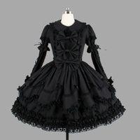 Kundengebundene klassische schwarze Baumwolle Lolita Kleider 2018 lang mit entfernbarem überlagertem Cosplay Kostüm für Mädchen