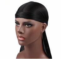 جديد أزياء رجالية الحرير durags المنديل عمامة الباروكات الرجال حريري durag أغطية الرأس عقال القراصنة قبعة الشعر الملحقات