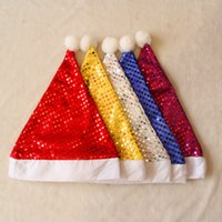 12pcs lot Sequined Christmas Hats Lovely Wool Ball Santa Cla...