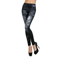 Mulheres Sexy clássico de cintura alta borboleta impressas elásticos de Slim Leggings Casual Jean magro Floral linha de lápis calças azul / preto