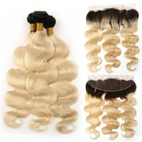 Colored 1B 613 Blonde Bundles With 13x4 Lace Frontal Body Wa...