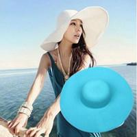 Estate Donna Cappello da sole Donna Tesa larga Cappelli di paglia Outdoor Pieghevole Spiaggia Panama Cappelli Chiesa Cappello Bone Chapeu Feminino