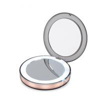 Mini miroir de maquillage éclairé par LED 3X, loupe, compact, voyage, portatif, détection, éclairage, miroir maquillage, vert, rose, or rose