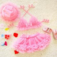 PROSEA الطفلات 3 قطعة / المجموعة الحلو الدانتيل مصغرة تنورة بيكيني المايوه + الشمس ، أطفال بنات الأميرة اللباس beachwears