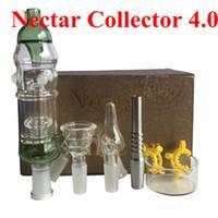Nectar Collector 4.0 Kit 14mm avec Bol En Verre Incurvé Nail Titanium Nail Pipe En Verre 2pcs pince en plastique DHL gratuit aux Etats-Unis