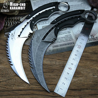 LCM66 karambit Espelho batalha luz escorpião garra faca ao ar livre de acampamento de sobrevivência na selva fixo facas de caça de lâmina auto-defesa