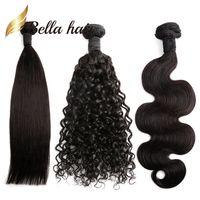 Pacotes de cabelo brasileiro cor natural corporal onda profunda 100 extensões de cabelo humano julienchina trança-doador bella 1/2 / 3/4 pcs