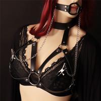 Moda New goth feminino meia suspender cinto Sexy Vanessa Garter Belt corpo ligação Garganta pescoço restrição underwear varejo