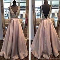 Derin V Tozlu Pembe Sequins Kristaller A-line Balo Elbise Akşam Aç Geri Uzun Örgün Önlük vestidos de fiesta