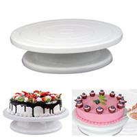 Weiß 28 CM Kunststoff Kuchen Plattenspieler Rotierenden Kuchen Dekorieren Platte 11 Kuchen Stehen Rundtisch Backenwerkzeuge