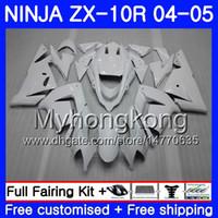 ALL Gloss corps blanc + réservoir pour KAWASAKI ZX ZX1000 CC 10 R ZX10R 04 05 04 05 214HM.4 ZX10R ZX 1000 1000CC kit ZX 10R 2004 2005 carénages