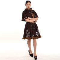 Steampunk Lolita Costume Marrone / Blu Donna Corsetto Abito Cape Ricamo JSK Vintage Cosplay Set di alta qualità