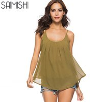 Saimishi Women Backless Chiffon Tank Tops Casual O- Neck Slee...