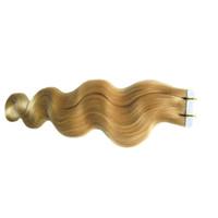 Blonde brasilianische Haarverlängerungen 40 stücke 100g / bündelband klebende haarverlängerung haut schussverlängerungen körperwellenband in menschlicher haare