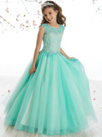 Beauty Water Green Tulle Applique Beads Flower Girl Dresses ...