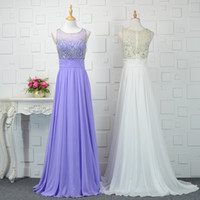 Beaded Scoop Neck Chiffon Evening Dresses 2019 High Quality ...