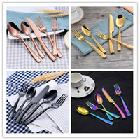 1 Set gold cutlery flatware set stainless steel knife fork s...